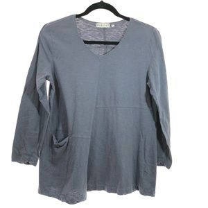 Habitat medium blue cotton tunic top v neck
